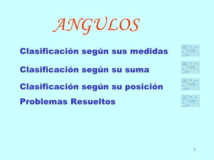 ANGULOS Clasificación según sus medidas Clasificación según su suma Clasificación según su posición Problemas Resueltos