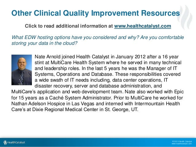 © 2013 Health Catalyst www.healthcatalyst.com Other Clinical Quality Improvement Resources Click to read additional inform...