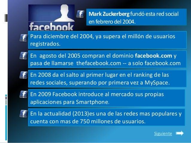 MarkZuckerbergfundóestaredsocialenfebrerodel2004.Para diciembre del 2004, ya supera el millón de usuariosregistrados.En ag...