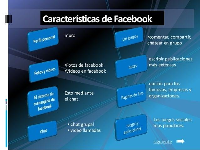 Características deFacebookmuro•Fotos de facebook•Videos en facebookEsto medianteel chat• Chat grupal• video llamadas•comen...