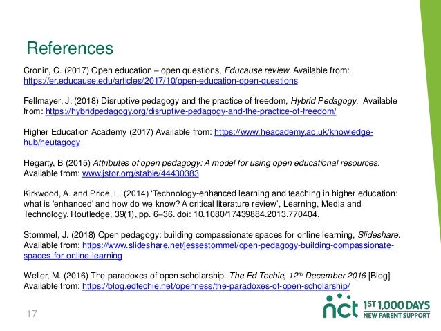 17 References Cronin, C. (2017) Open education – open questions, Educause review. Available from: https://er.educause.edu/...