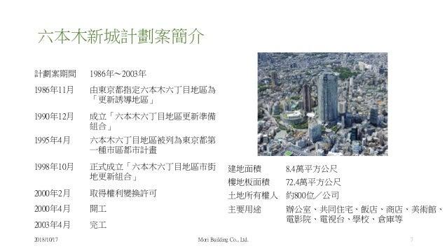 六本木新城計劃案簡介 計劃案期間 1986年~2003年 1986年11月 由東京都指定六本木六丁目地區為 「更新誘導地區」 1990年12月 成立「六本木六丁目地區更新準備 組合」 1995年4月 六本木六丁目地區被列為東京都第 一種市區都市...