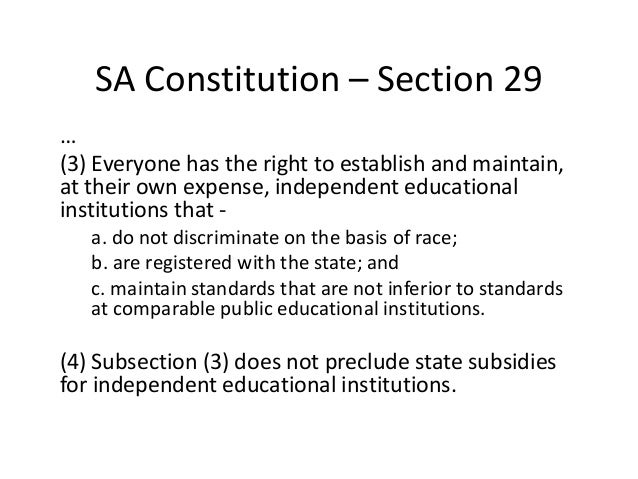law and south african education Sgbs were formed in all south african public schools to oversee the administration of the schools,  the failing standard of basic education in south africa.
