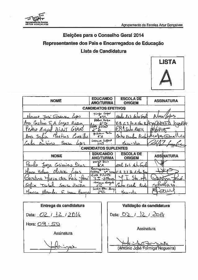 """' ü' '"""" l l;  haudu Anton uouçuvsa .  Agnrpamento de Escoias Artur Gonçalves  Eleições para o Conselho Geral 2014 Represen..."""