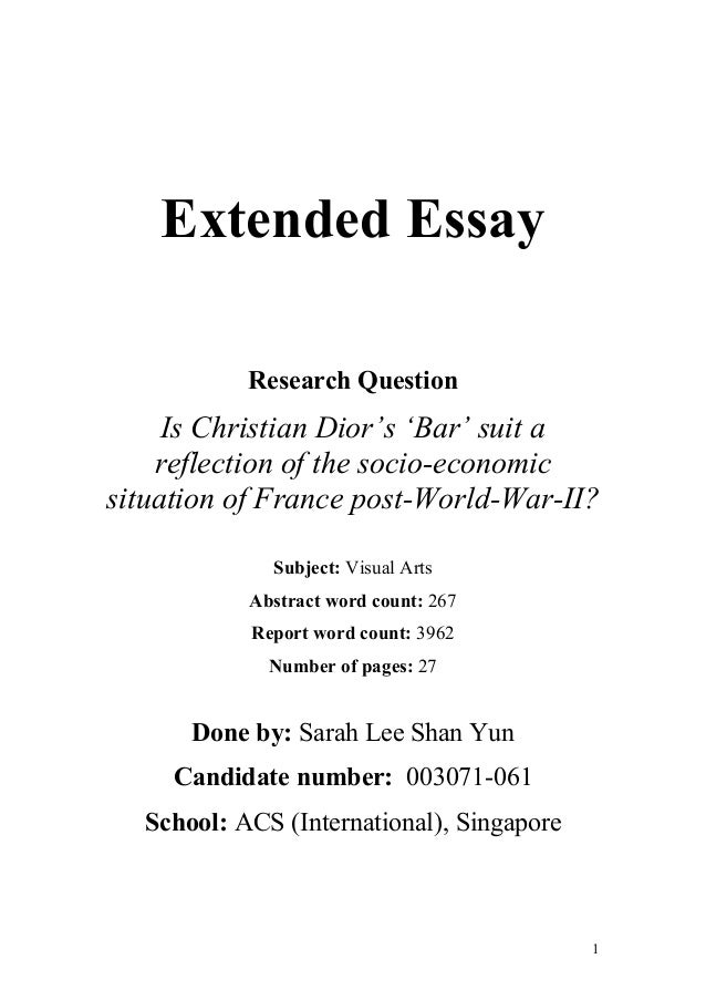ib extended essay front page Sample title page bears and beets: the impact of introducing black bears on the ecology of a beet farm environmental systems and societies extended essay.