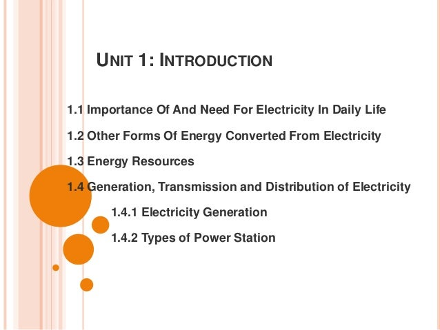 UNIT 1: INTRODUCTION 1.1 Importance Of And Need For Electricity In Daily Life 1.2 Other Forms Of Energy Converted From Ele...