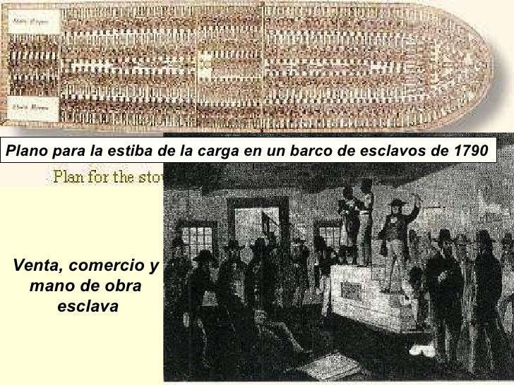 Venta, comercio y  mano de obra  esclava Plano para la estiba de la carga en un barco de esclavos de 1790