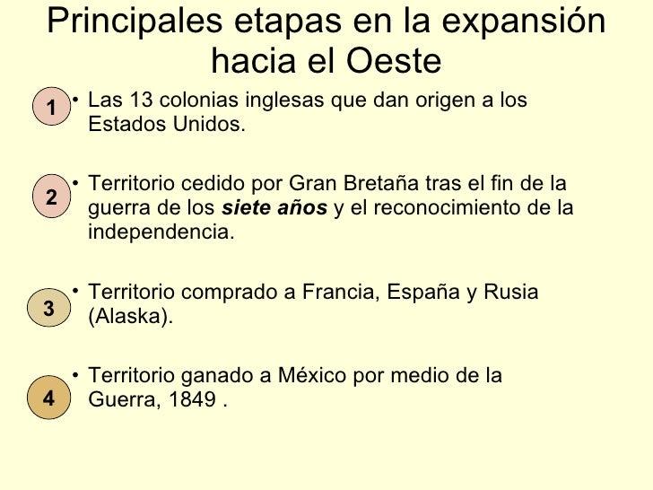 Principales etapas en la expansión hacia el Oeste <ul><ul><ul><li>Las 13 colonias inglesas que dan origen a los Estados Un...