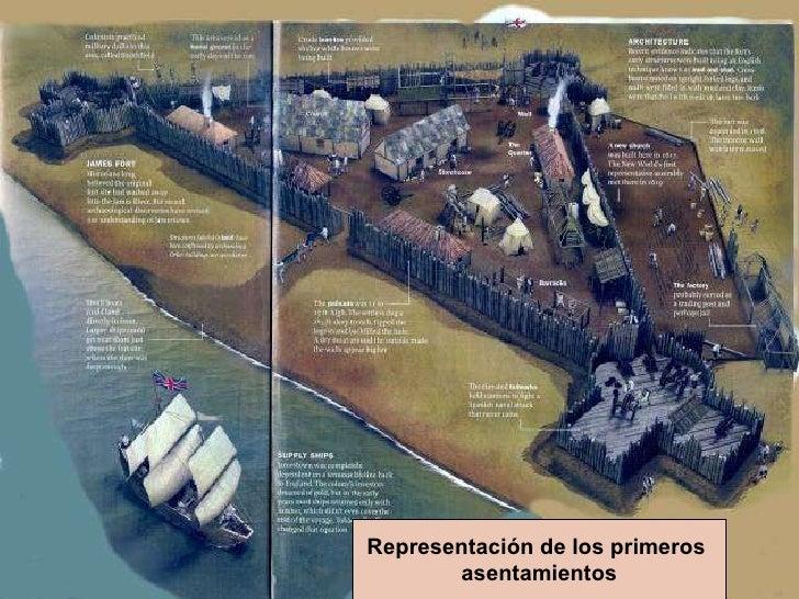 Representación de los primeros  asentamientos