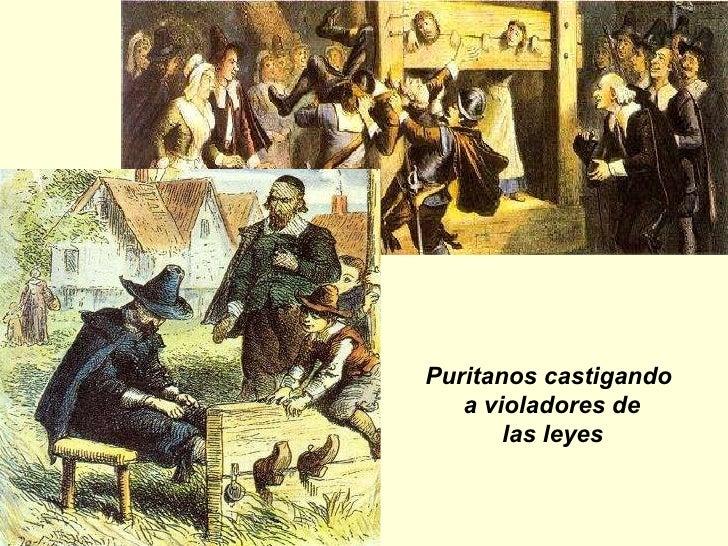 Puritanos castigando  a violadores de las leyes