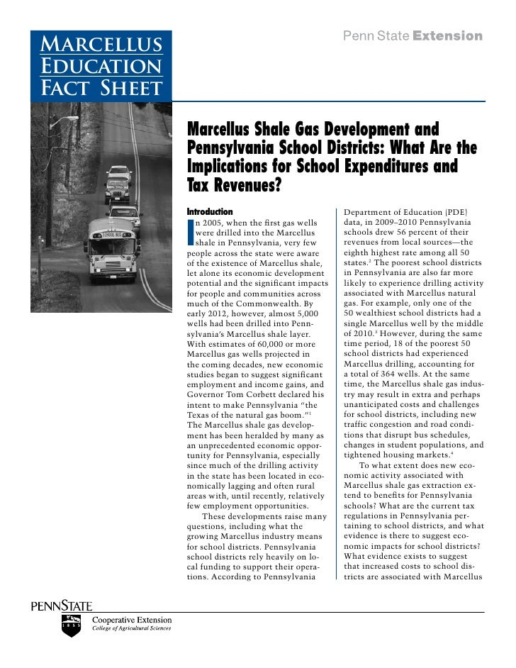MarcellusEducationFact Sheet             Marcellus Shale Gas Development and             Pennsylvania School Districts: Wh...
