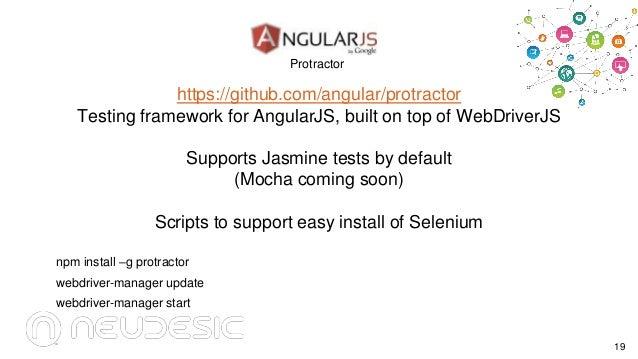 Protractor  https://github.com/angular/protractor Testing framework for AngularJS, built on top of WebDriverJS Supports Ja...