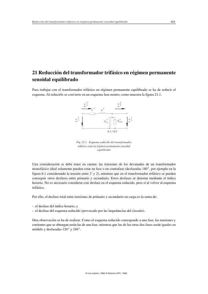 Reducción del transformador trifásico en régimen permanente senoidal equilibrado                      12321 Reducción del ...