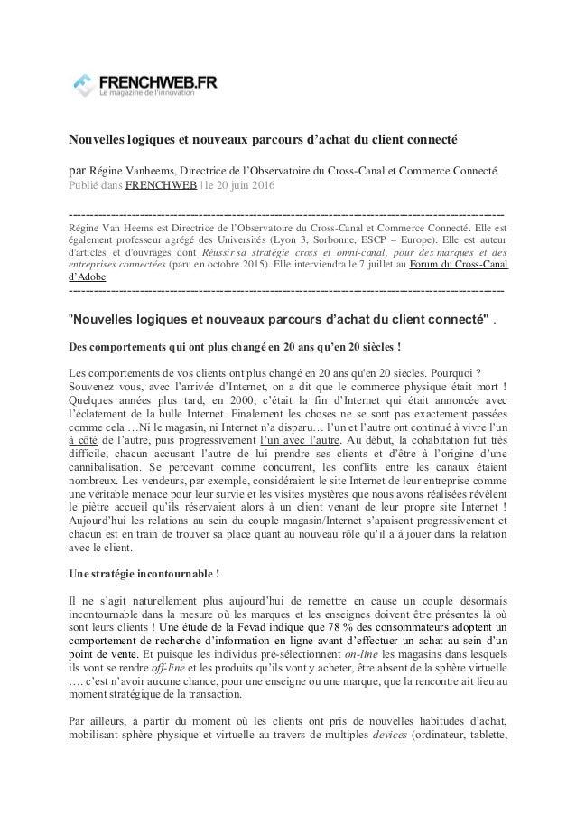 Nouvelles logiques et nouveaux parcours d'achat du client connecté par Régine Vanheems, Directrice de l'Observatoire du Cr...
