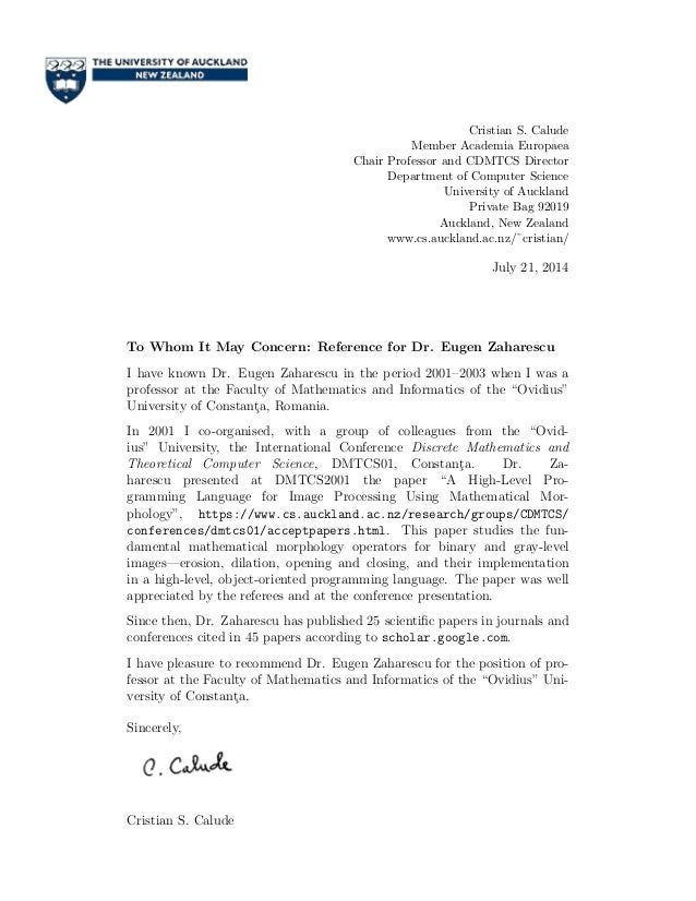 letter of recommendation phd prof  christian calude