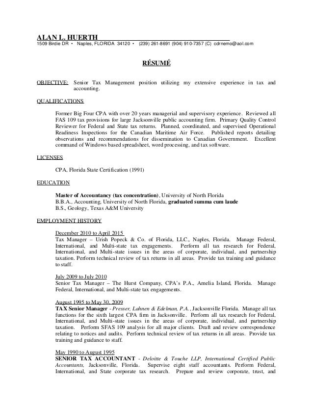 International tax manager resume