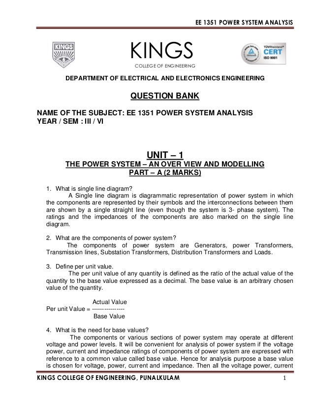 Ee 1351 Power System Analysis