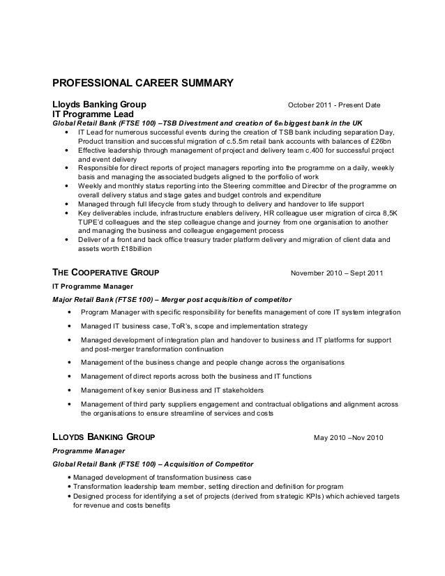 programme manager cv - Dorit.mercatodos.co