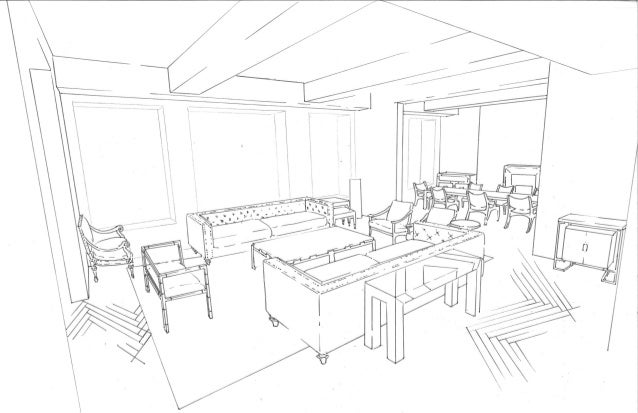 Line Drawing Room : Living room line drawing