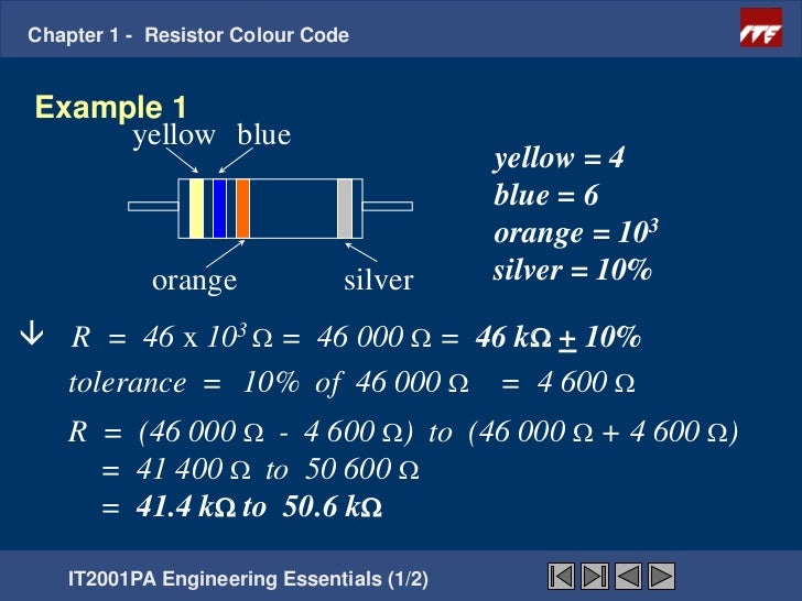 Chapter  Resistors Color Coding