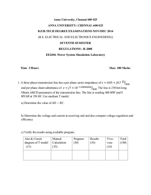 EE2404 POWER SYSTEM SIMULATION LAB MANUAL PDF