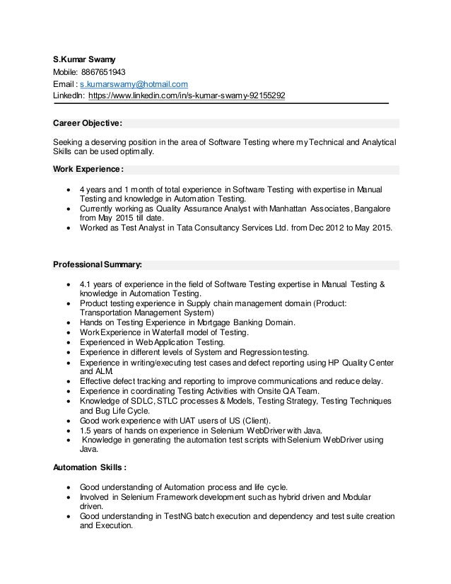 Cool Resume Automation Testing Contemporary - Example Resume Ideas ...