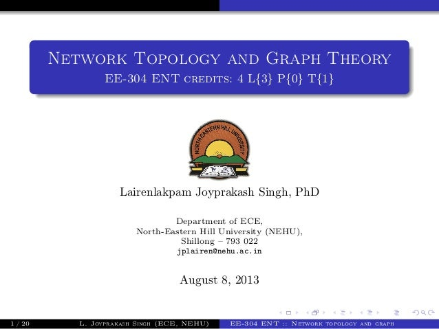 Network Topology and Graph Theory EE-304 ENT credits: 4 L{3} P{0} T{1} Lairenlakpam Joyprakash Singh, PhD Department of EC...