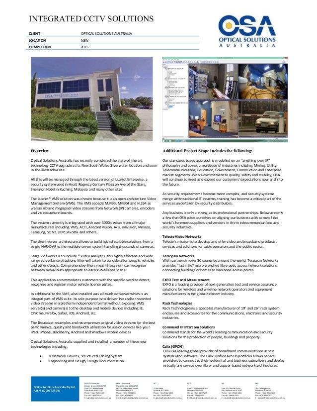 OpticalSolutionsAustraliaPtyLtd A.B.N.60098737949  NSW–Silverwater MasterLicense000101752 Unit4,52Hol...