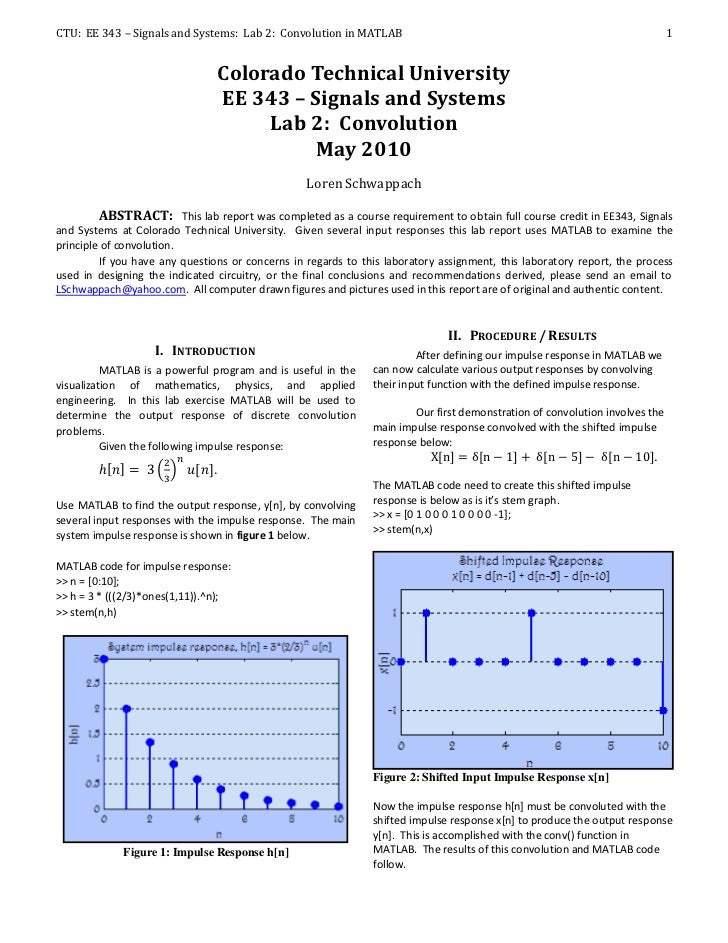 CTU: EE 343 – Signals and Systems: Lab 2: Convolution in MATLAB                                                           ...