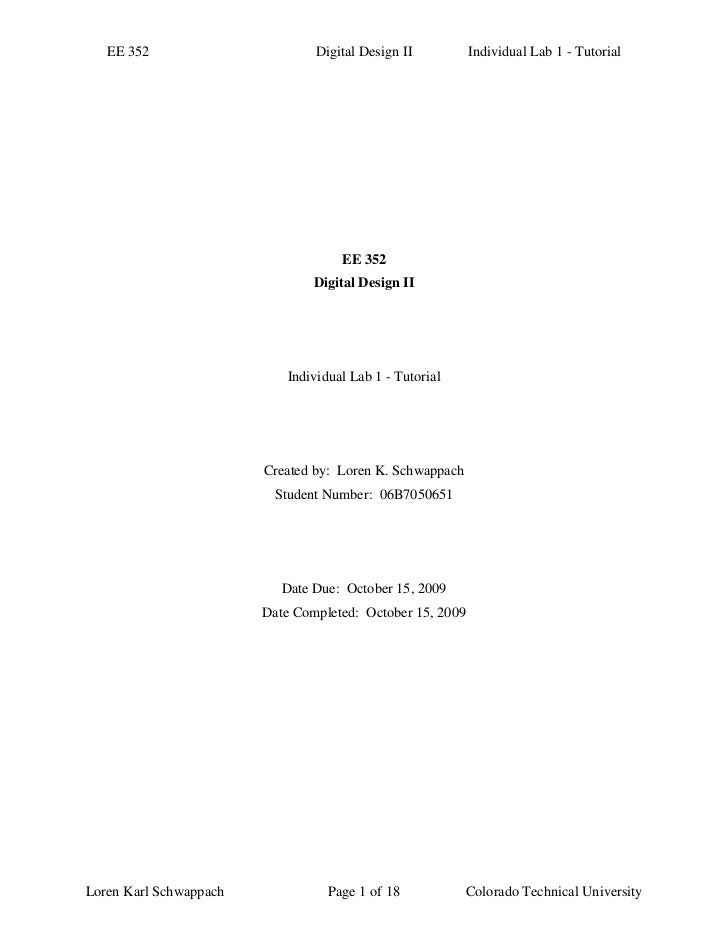 EE 352                       Digital Design II          Individual Lab 1 - Tutorial                                    EE ...