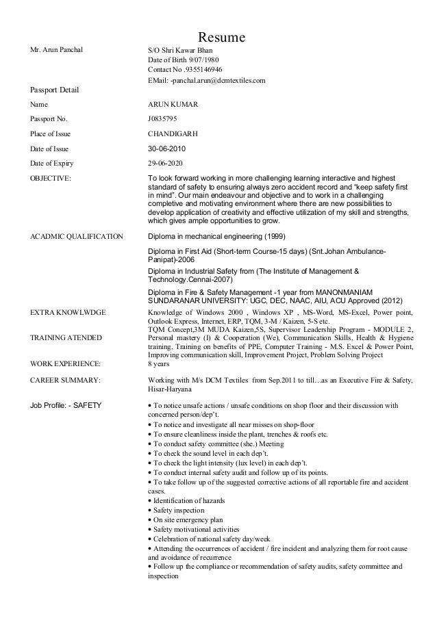 arun resume word