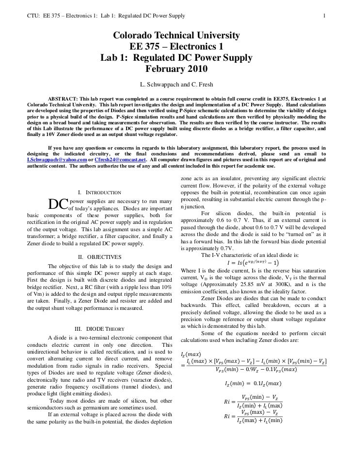 CTU: EE 375 – Electronics 1: Lab 1: Regulated DC Power Supply                                                             ...