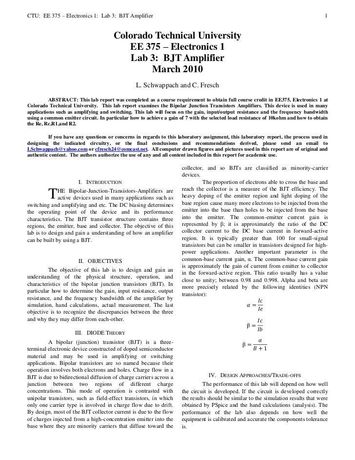CTU: EE 375 – Electronics 1: Lab 3: BJT Amplifier                                                                         ...