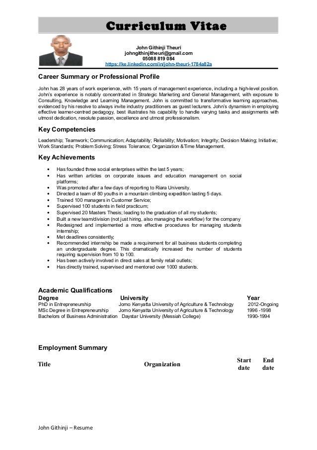 john githinji resume summary