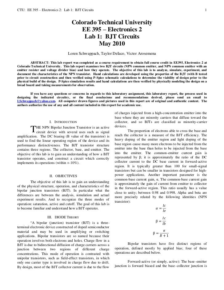 CTU: EE 395 – Electronics 2: Lab 1: BJT Circuits                                                                          ...