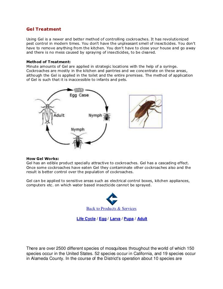 Gel TreatmentUsing Gel is a newer and better method of controlling cockroaches. It has revolutionizedpest control in moder...