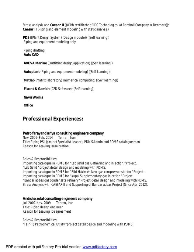 Mechanical Piping Engineer Resume