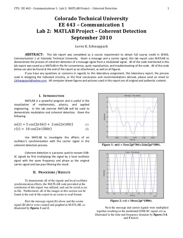 CTU: EE 443 – Communications 1: Lab 2: MATLAB Project – Coherent Detection                                                ...