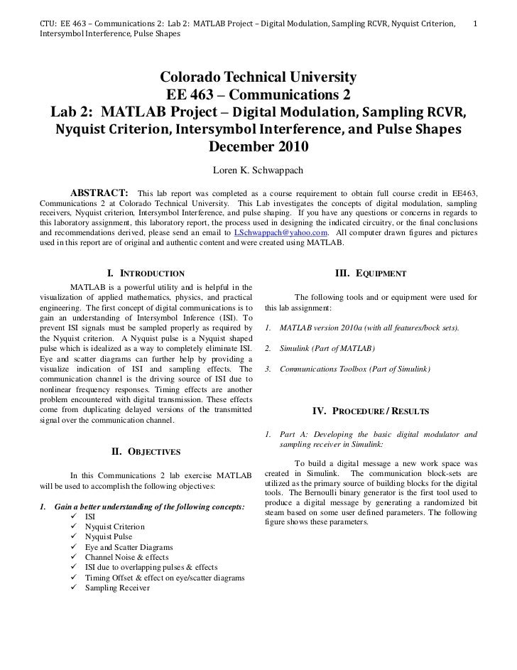 CTU: EE 463 – Communications 2: Lab 2: MATLAB Project – Digital Modulation, Sampling RCVR, Nyquist Criterion,             ...