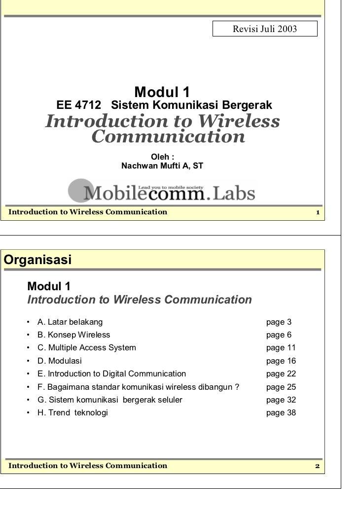 Revisi Juli 2003                                  Modul 1             EE 4712 Sistem Komunikasi Bergerak          Introduc...