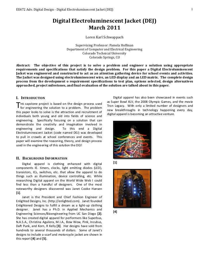 EE472 Adv. Digital Design - Digital Electroluminescent Jacket (DEJ)                                                       ...
