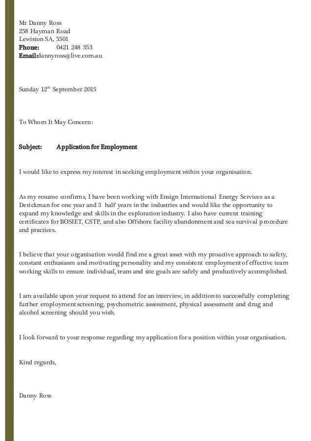 Danny Ross Cover Letter 2015