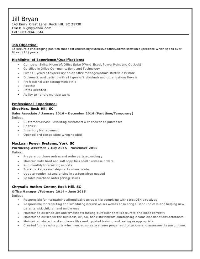 jill bryan resume updated