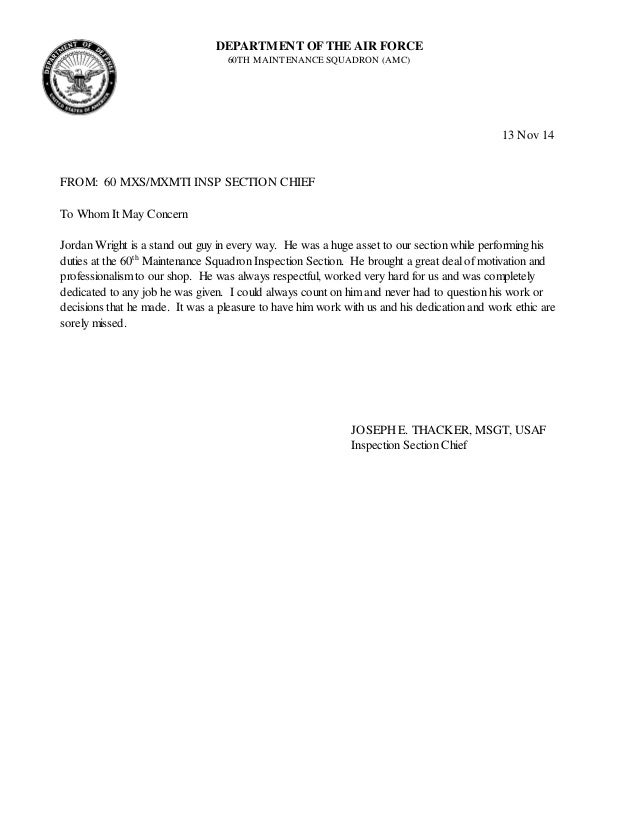 Nice Wright Letter Of Recommendation. DEPARTMENT OF THE AIR FORCE 60TH  MAINTENANCE SQUADRON (AMC) 13 Nov 14 FROM: ... Pictures Gallery