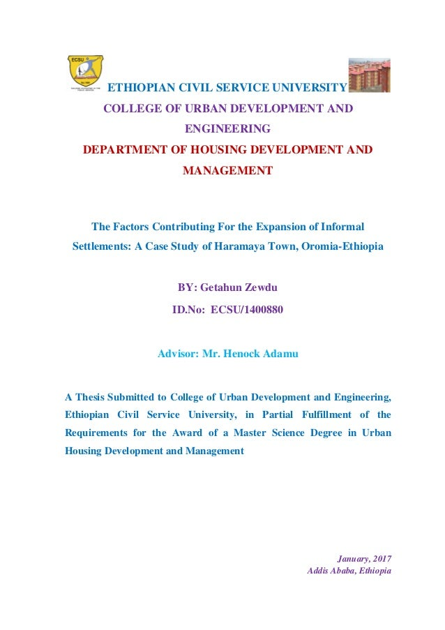 final theses after defence  n civil service university college of urban development and engineering department of housing development and mana
