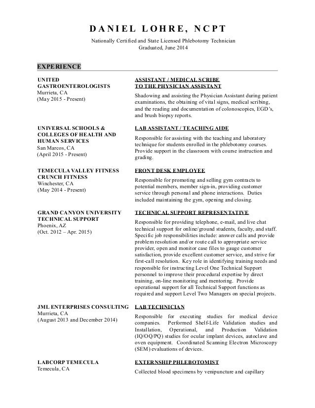 Phlebotomy Technician Resumes. Daniel Lohre Resume Medical Assisting Az .  Phlebotomy Technician Resume