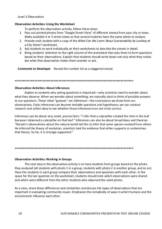 RJ Portfolio Online course PBL text excerpt – Observations and Inferences Worksheet