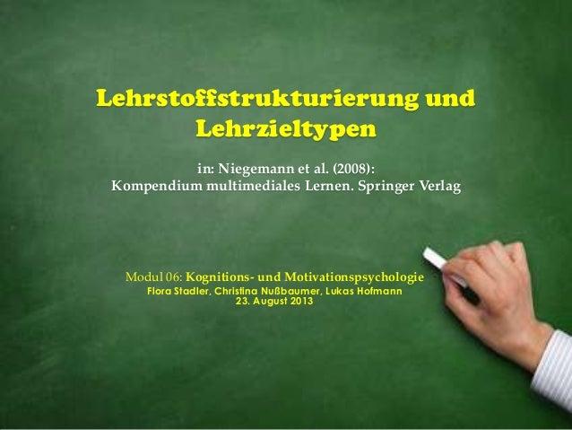 Lehrstoffstrukturierung und Lehrzieltypen in: Niegemann et al. (2008): Kompendium multimediales Lernen. Springer Verlag Mo...