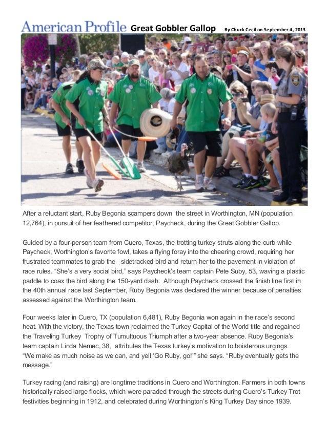 Gobbler Gallop >> 2013 American Profile Artice On The Great Gobbler Gallop