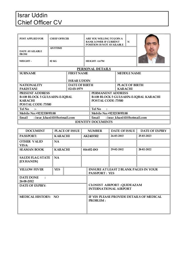 israr uddin chief officer cv